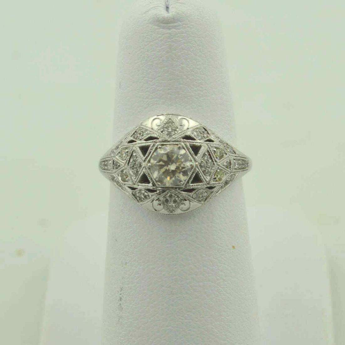 18kt white gold Art Deco style diamond ring