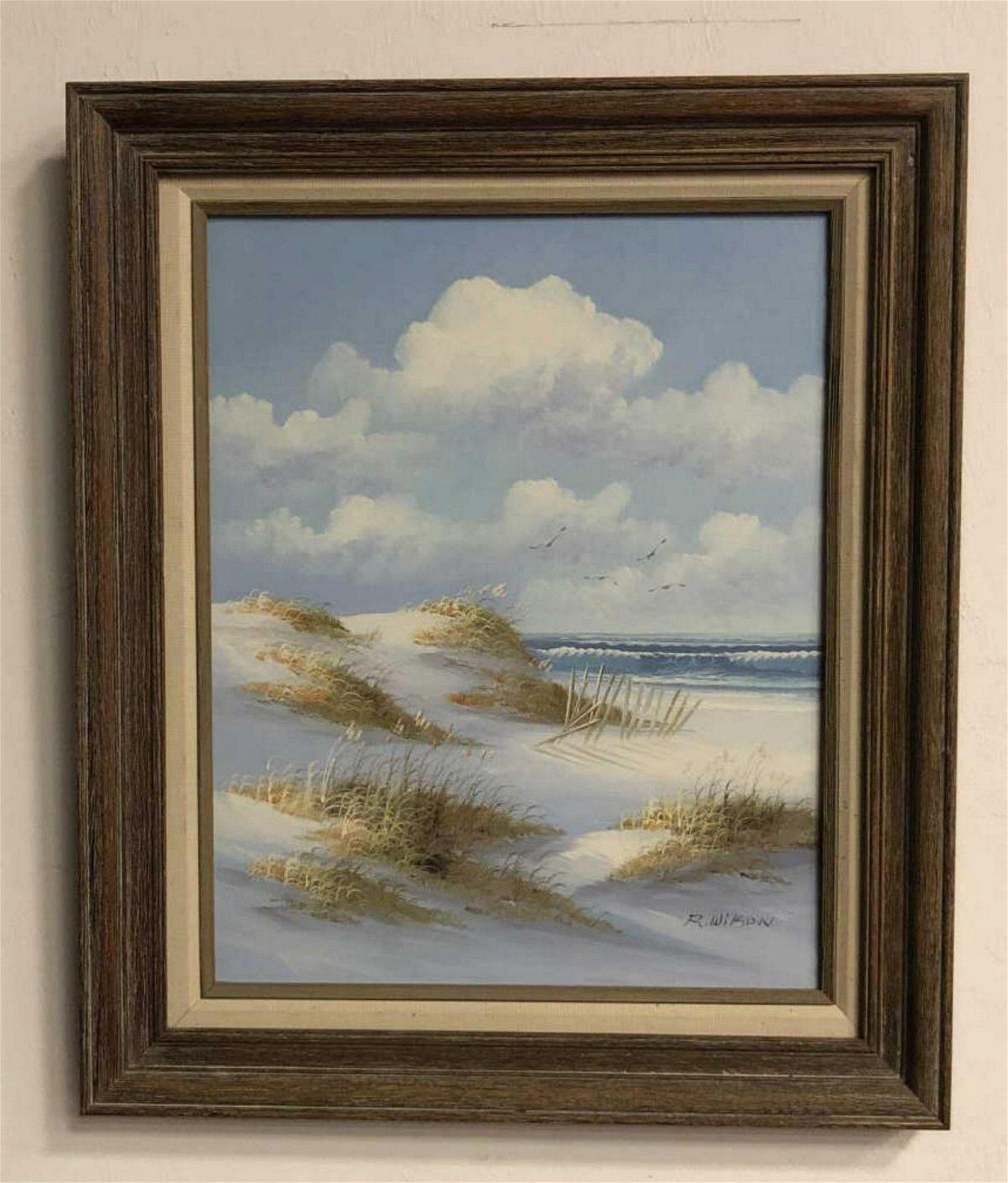 Coastal Beach Scene by R. Wilson Oil on Canvas