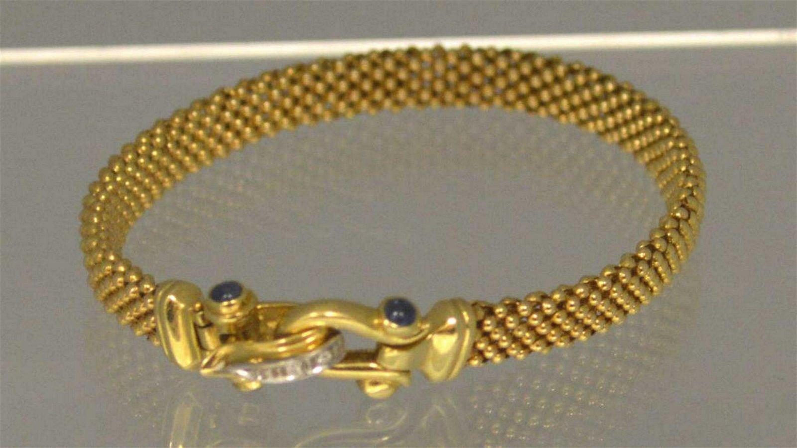 14kt yellow gold popcorn link bracelet