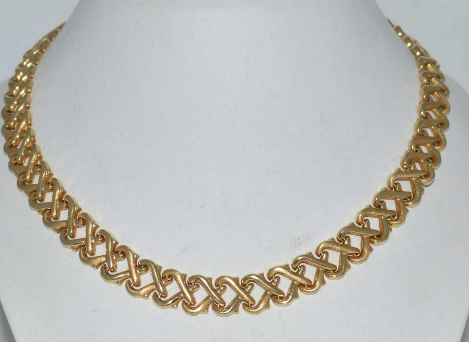 14kt yellow gold fancy link collar necklace