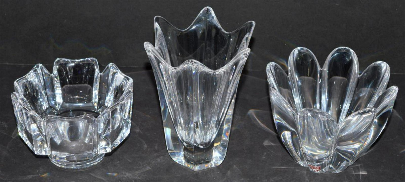 Three Signed Orrefors Crystal Two Bowls & Vase