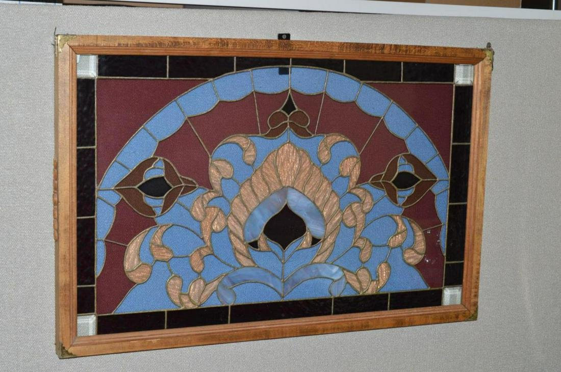 Vintage Stained Glass Window Pane Framed Convert