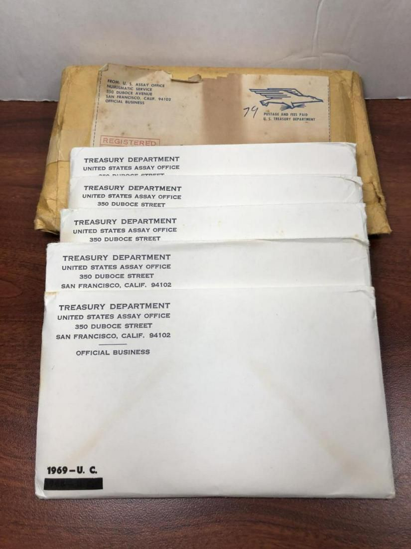 1969 Uncirculated Mint Set, Original Envelope of 5