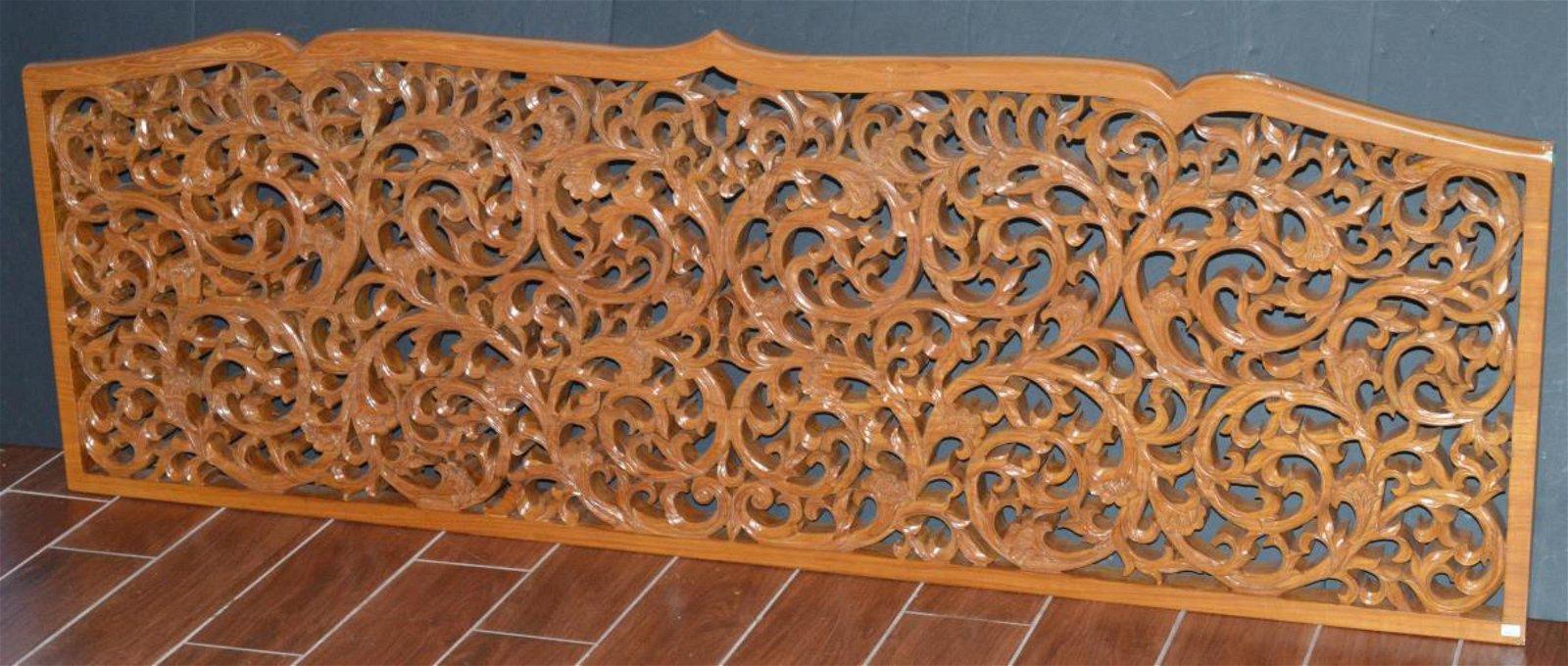 Wood Carved Teak Thai Style Ornate Headboard