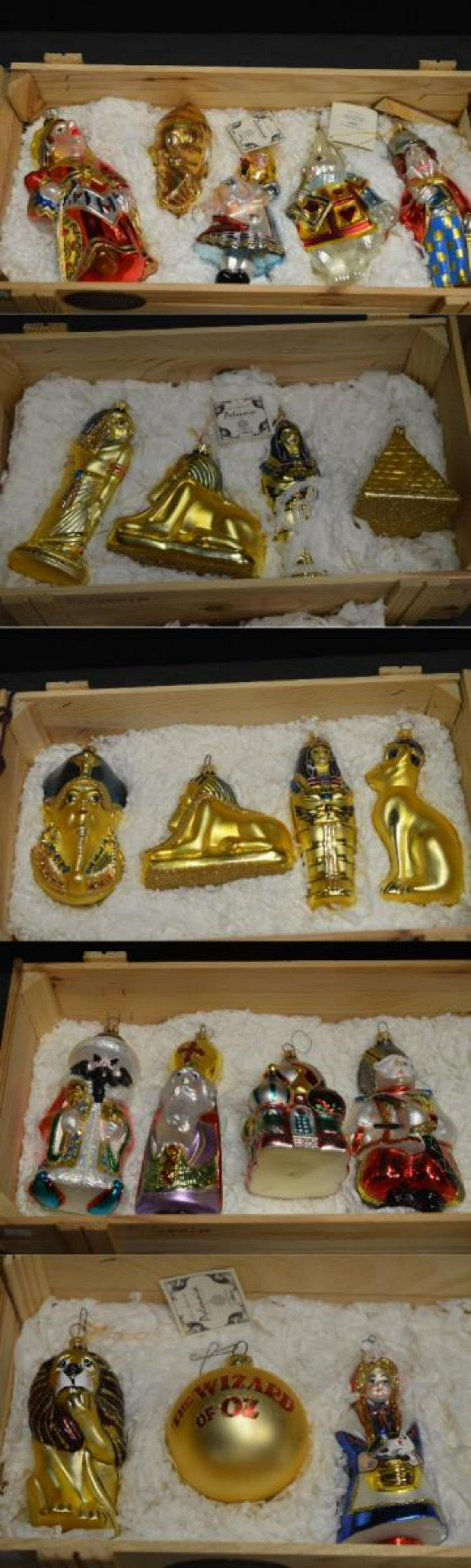 Large Lot of Wooden Crated Komozja Ornaments