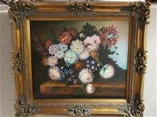 Framed Oil on Canvas Painting of Colorful Flowers