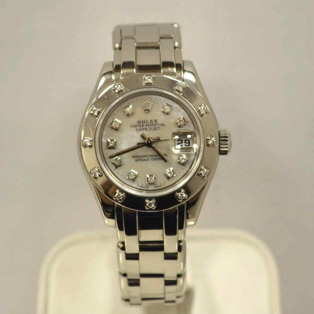 Ladies 18kt white gold Rolex Pearlmaster watch