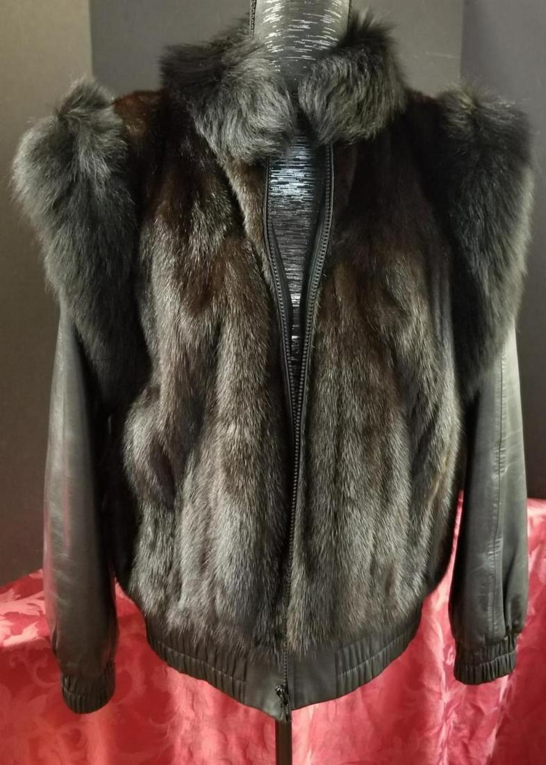 Ladies Mink & Fox Leather Convertible Coat Vest