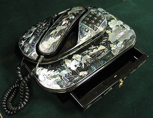 1: Mother of pearl inlaid telephone