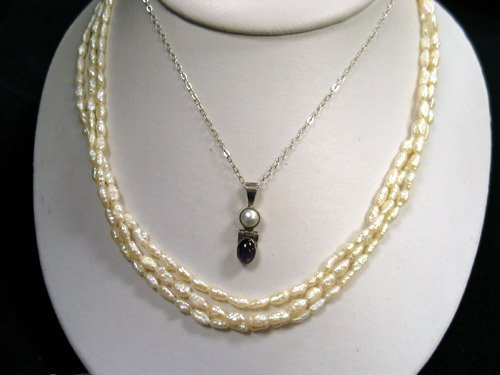 15: Seed pearl necklace and Amethyst