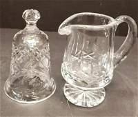 Pair of Waterford Cut Crystal Items Creamer  Bell