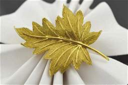 18kt yellow gold Tiffany leaf brooch