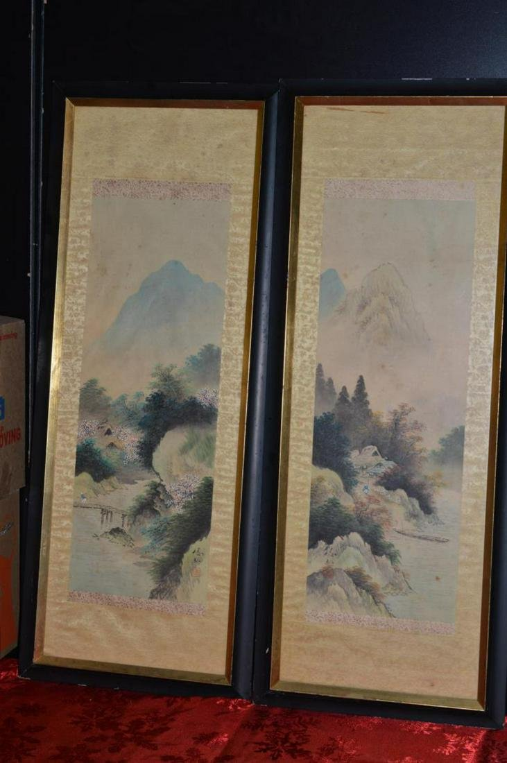 Pair of Japanese Original Paintings on Linen