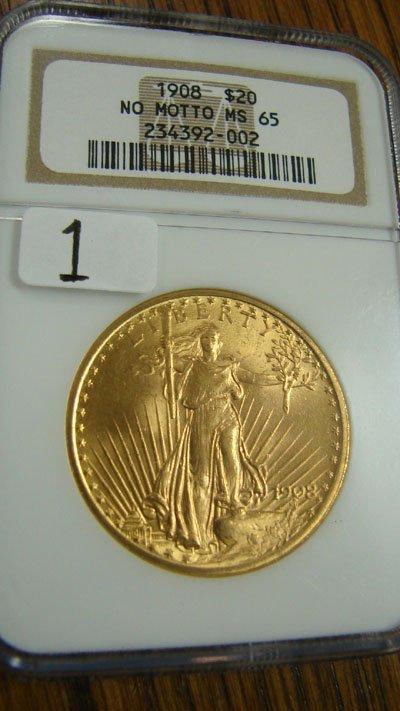 1001: 1908 no motto Saint Gauden's $20.00 gold coin NGC