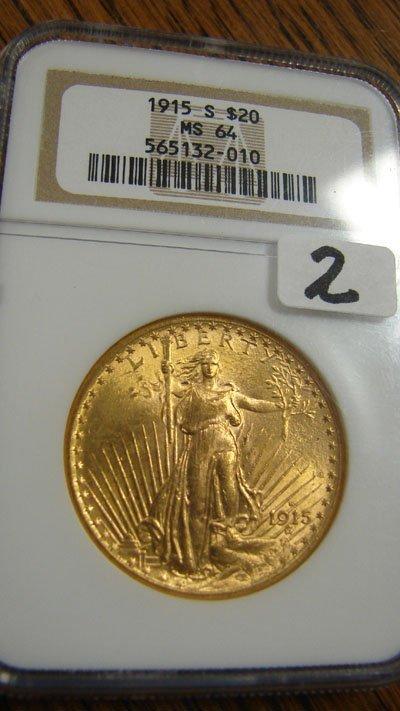 1002: 1915 better date Saint Gauden's $20.00 gold coin