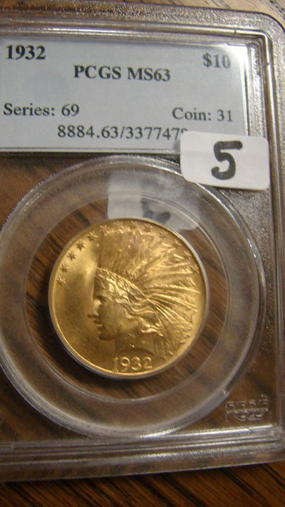 1005: 1932 $10.00 Indian gold coin PCGS MS63