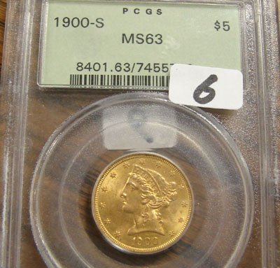 1006: 1900-S $5.00 Liberty gold coin. PCGS MS63