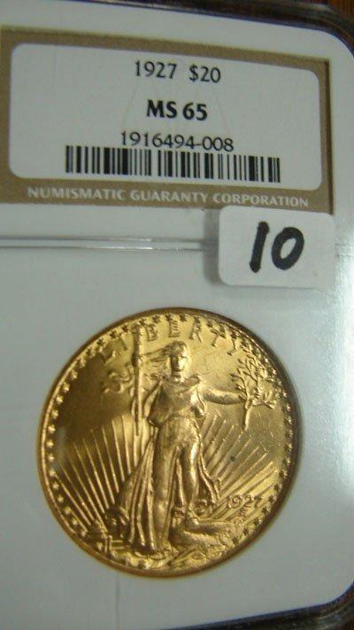 1010: 1927 $20.00 Saint Gauden's gold coin. NGC MS65