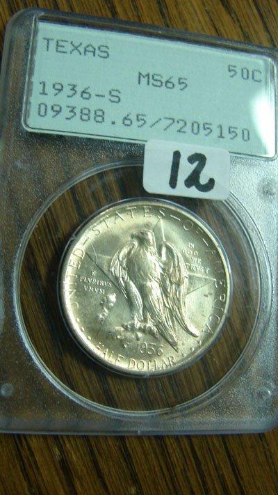 1012: 1936-S Texas Commemorative half dollar. PCGS MS65