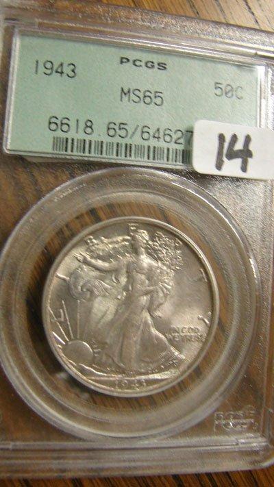 1014: 1943 Walking Liberty half dollar. PCGS MS65
