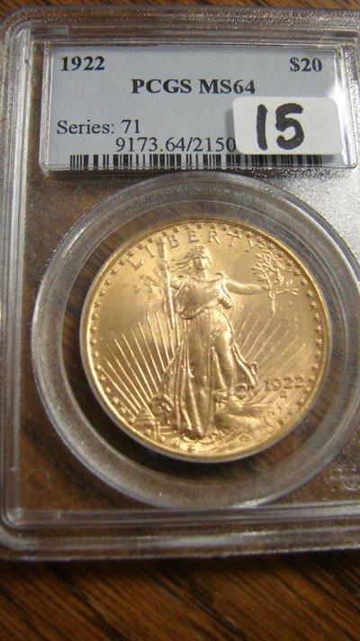 1015: 1922 $20.00 Saint Gaudens gold coin. PCGS MS64