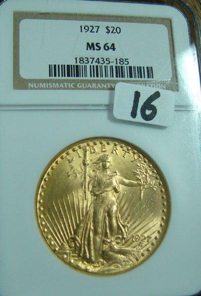 1016: 1927 $20.00 Saint Gaudens gold coin. NGC MS63
