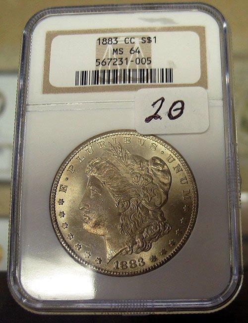 1020: 1883 Carson City Morgan Dollar NGC MS 64