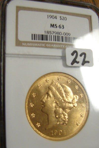1022: 1904 $20.00 Liberty gold coin. NGC MS63