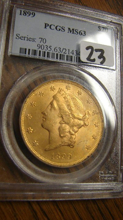1023: 1899 $20.00 Liberty gold coin. PCGS MS63