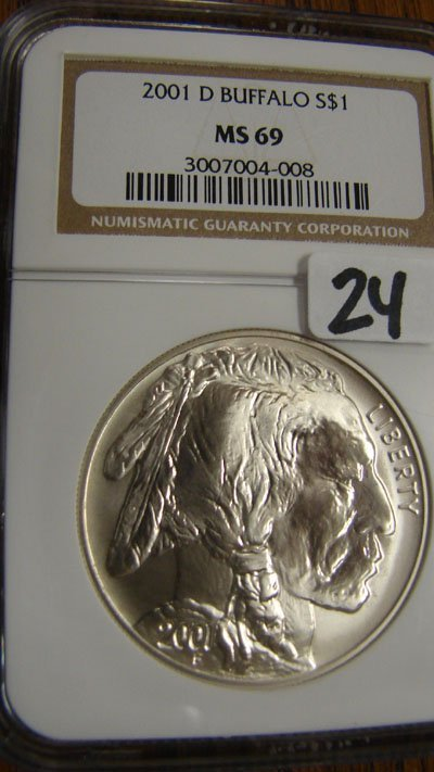 1024: 2001-D Buffalo Silver Dollar. NGC MS69