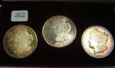 1252: Morgan Dollar Set 1880-S, 1881-S, 1882-S Gem BU F