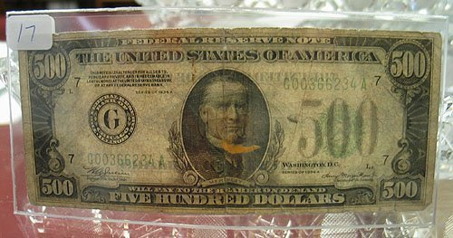1017: 1934-A $500 Fereradl Reserve Note Very Circulated