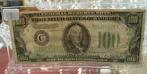 1018: 1934-A $100 Federal Reserve Note VG+