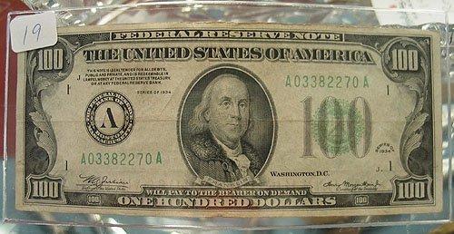 1019: 1934 $100 Federal Reserve Note Fine