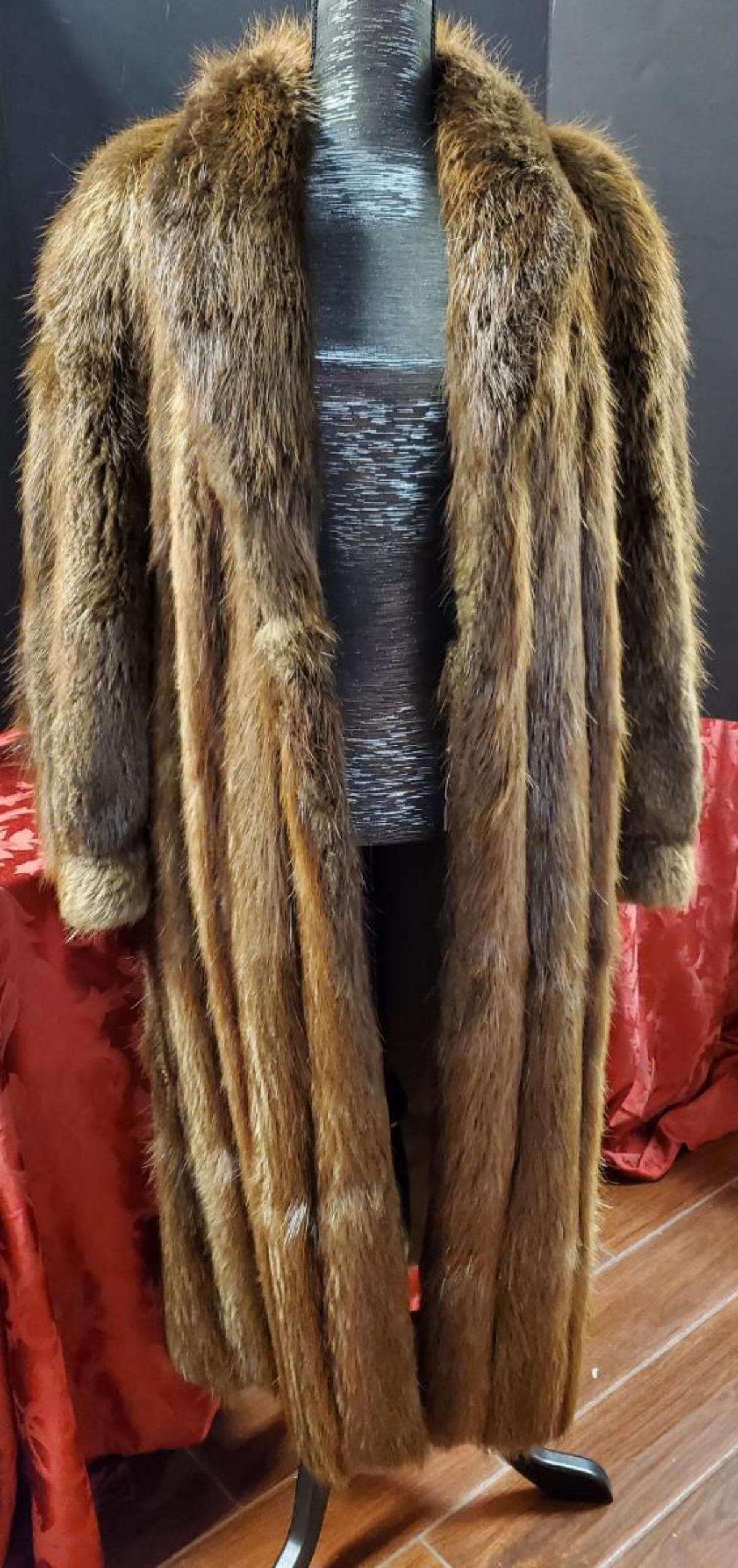 Ladies Brown Full Length Beaver Fur Coat by Dion