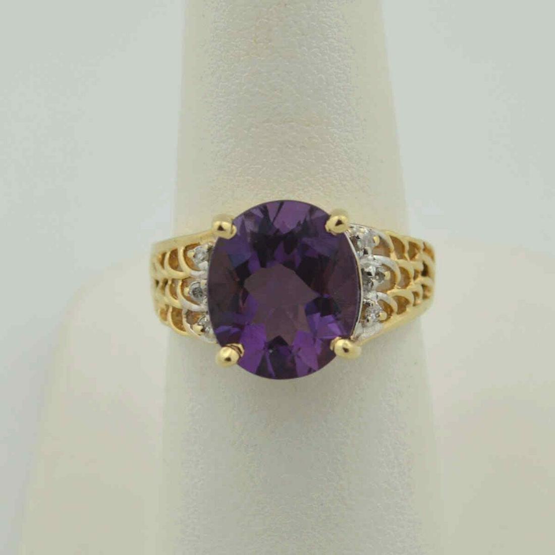 14kt yellow gold amethyst ring