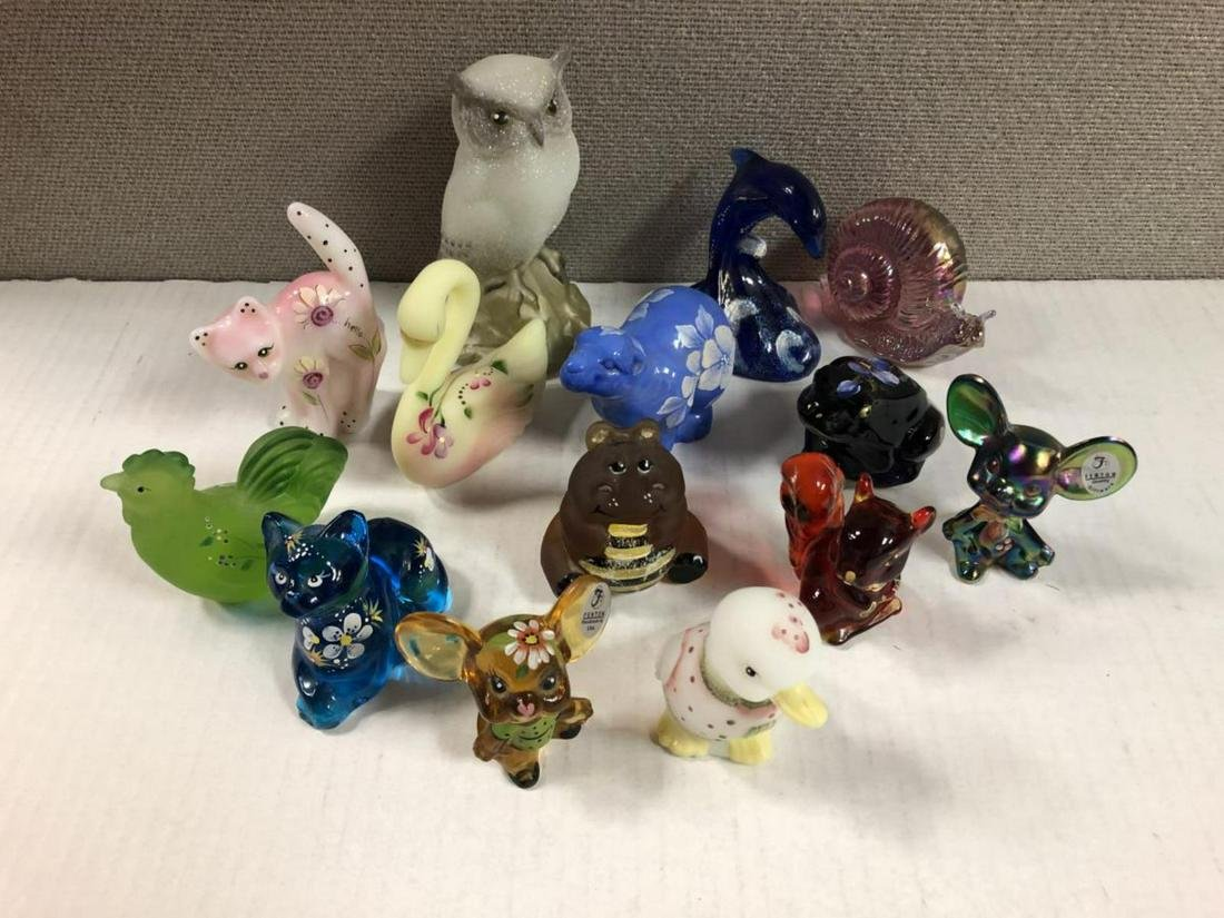 Lot of 14 Fenton Art Glass QVC Mostly Animals