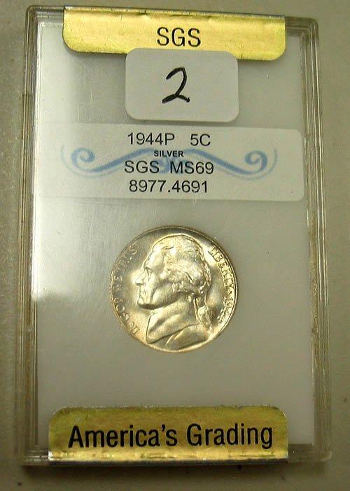 2: 1944-P Jefferson Silver War Nickel  SGS  MS 69