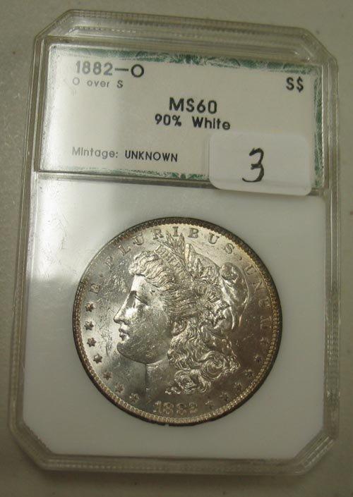 3: 1882-O Morgan Silver Dollar (O over S)  PCI  MS 60