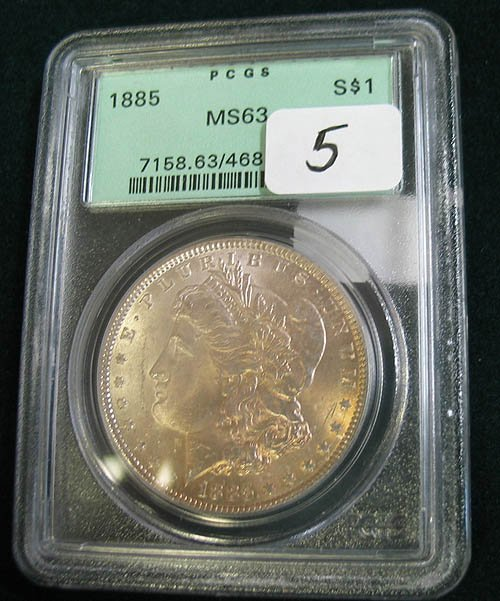 5: 1885 Morgan Silver Dollar  PCGS  MS 63