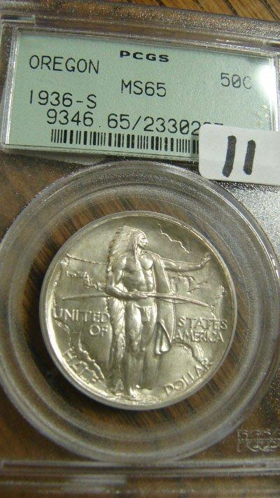 11: 1936-S Oregon Commemorative Half Dollar  PCGS  MS 6