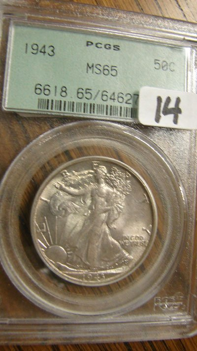 14: 1943 Walking Liberty Half Dollar  PCGS  MS 65