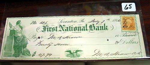 65: 3 Old Civil War Era Checks 1866-67-68 Scranton, Pa.