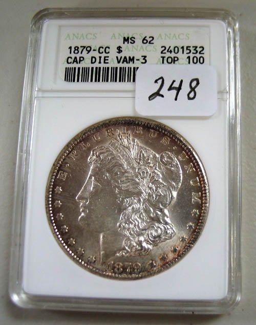 248: 1879-CC Morgan Silver Dollar  ANACS  MS 62