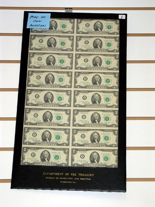 1: Sheet of (16) Uncut 1976 $2.00 Federal Reserve Notes