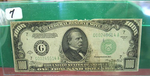 7: 1934-A $1,000  Federal Reserve Note  Very Circulated