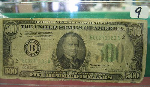 9: 1934-A $500 Fereral Reserve Note Very Circulated