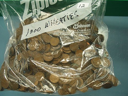12: Bag of 1000 Mixed Date Wheat Pennies