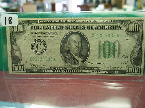 18: 1934-A $100 Federal Reserve Note VG+