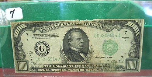 2007: 1934-A $1,000  Federal Reserve Note  Very Circula